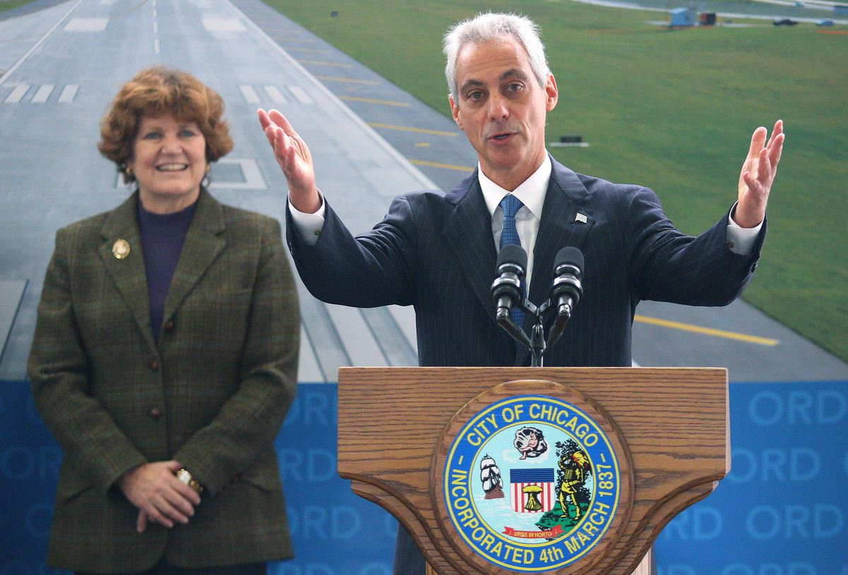 <small><strong> Mayor Rahm Emanuel was joined by Chicago Aviation Commissioner Ginger Evans in October for the official opening of a new east-west runway at O'Hare Airport.   Sun-Times file photo</strong></small>