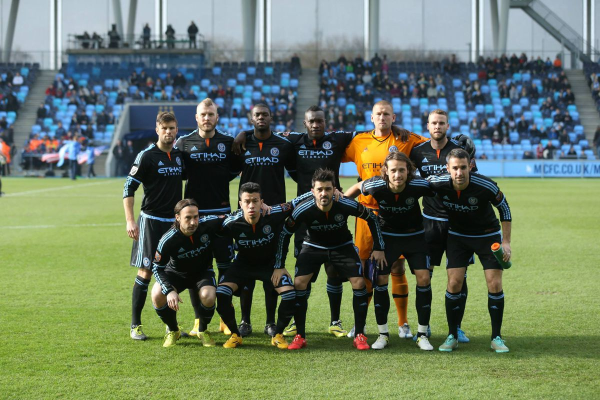 New York City FC poses for pictures before playing Brondby