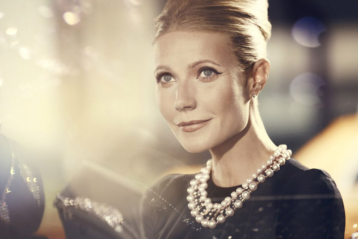"""Image via <a href=""""http://www.vogue.co.uk/beauty/2014/07/gywneth-paltrow-for-max-factor-as-audrey-hepburn-madonna/gallery/1203657"""">Vogue UK</a>."""