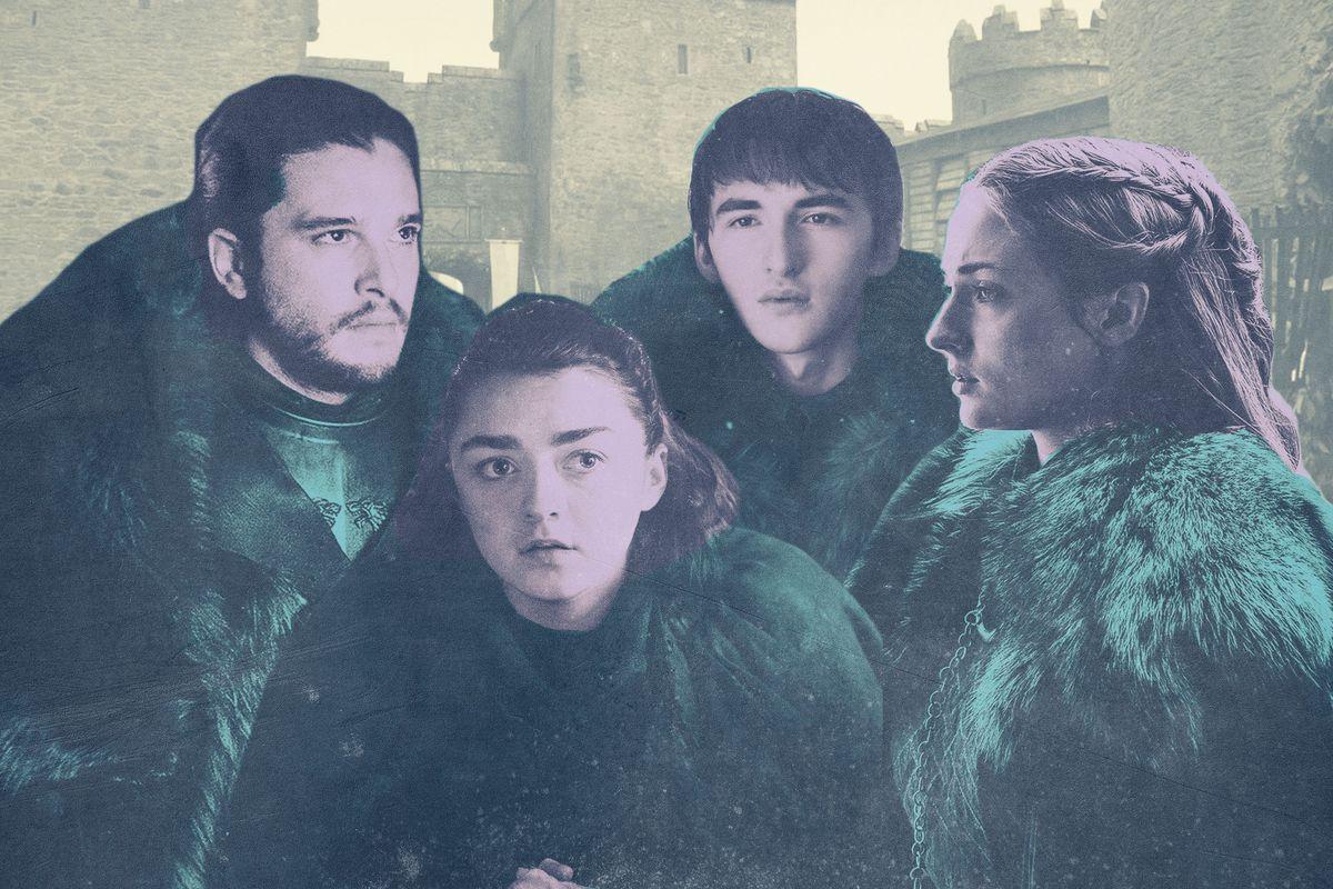 Jon Snow and Bran, Sansa, and Arya Stark
