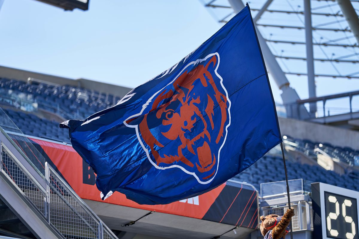 Chicago Bears logo is seen waving on a flag in action during a game between the Chicago Bears and the New York Giants on September 20, 2020 at Soldier Field in Chicago, IL.