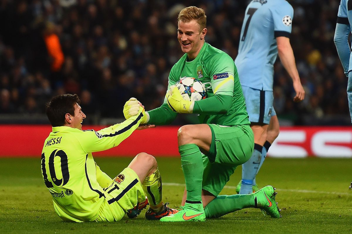 Image result for joe hart vs messi 2015