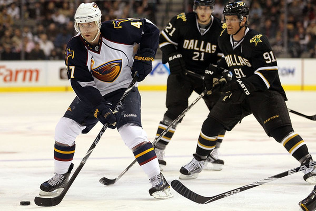 Old-school image, but hey, it's the only one out there of Peverley playing against the Stars.
