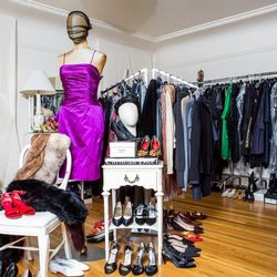 Shoes line every room at Helpers House of Couture