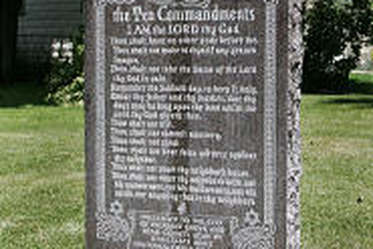 The stone Ten Commandments monument at Pleasant Grove's Pioneer Park was given to the city by the Fraternal Order of Eagles in 1971.