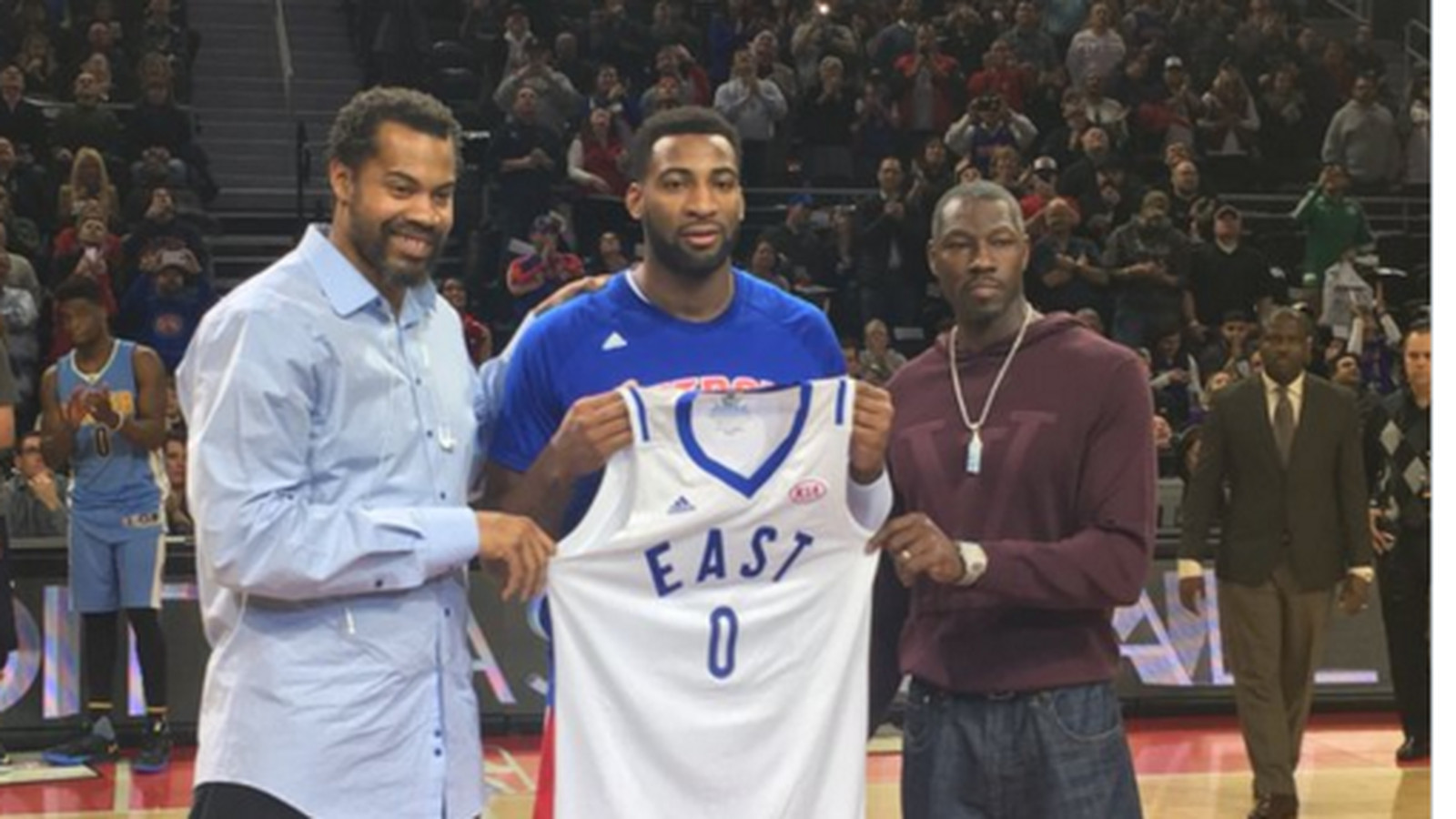 Rasheed Wallace and Ben Wallace present Andre Drummond with his