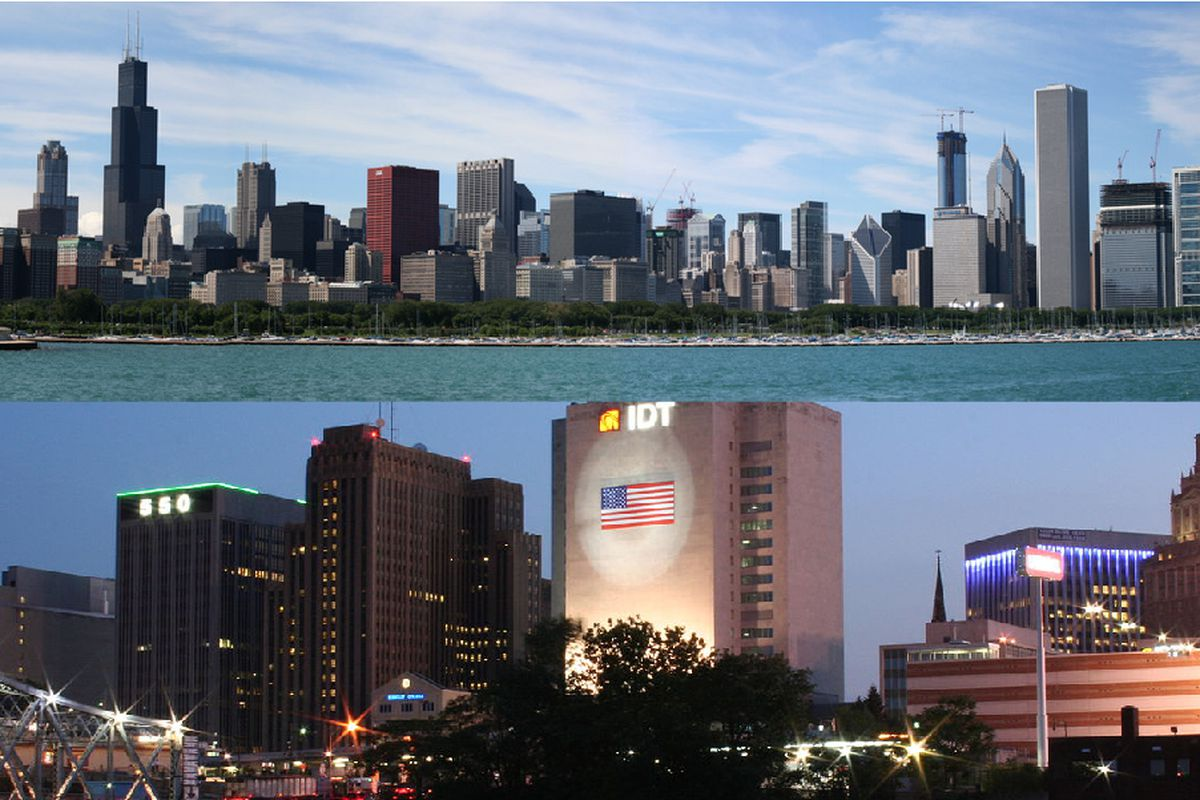 Top: Chicago skyline via Flickr/Carroll. Bottom: Newark via Wikimedia Commons/Jamaalcobbs