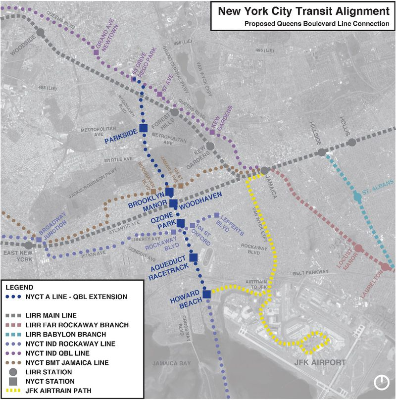 A map that depicts where the proposed subway spur will reconnect to the NYCT while positioning it in the larger public transportation framework of the area.