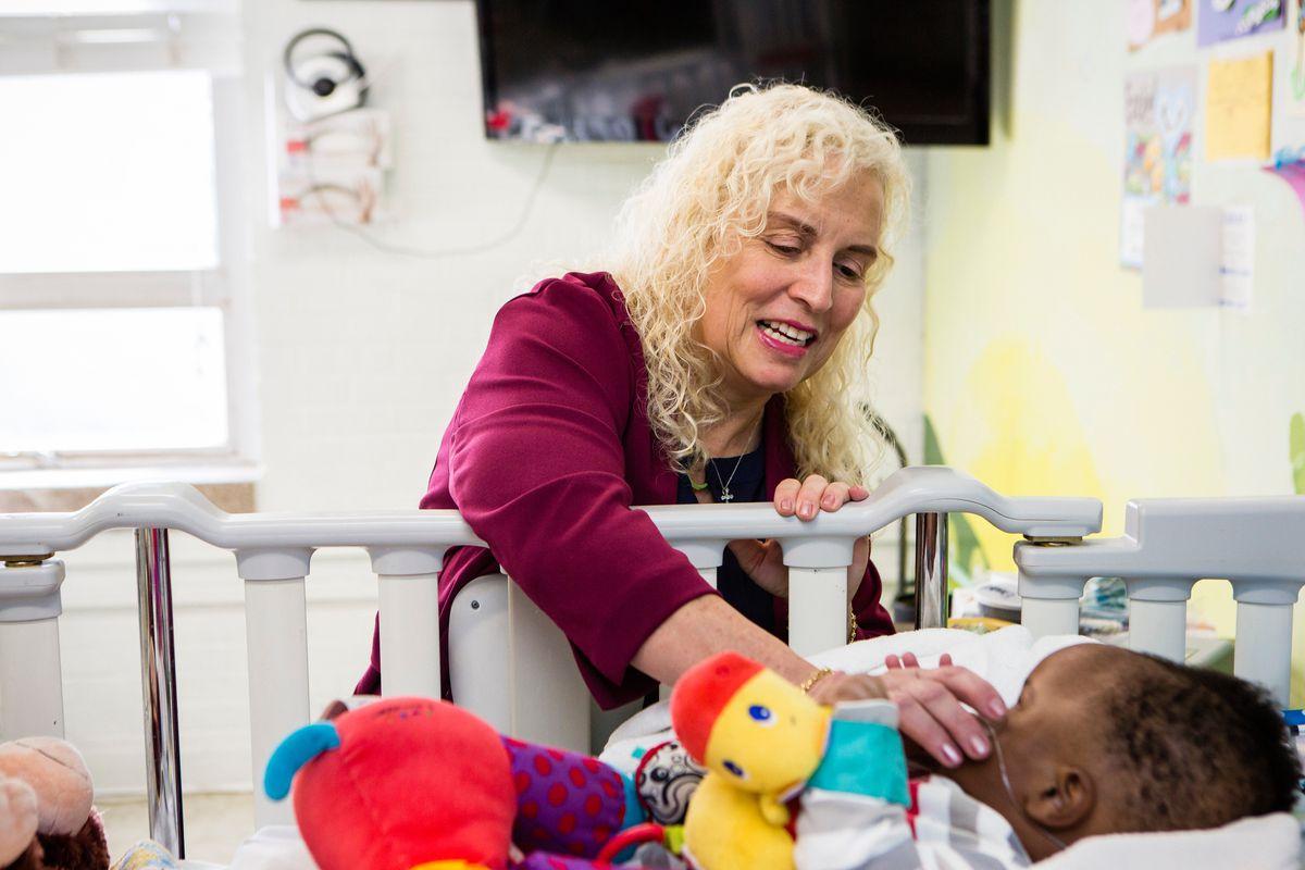 Helene Pochopien tends to one of Maryville Children's Healthcare Center's patients