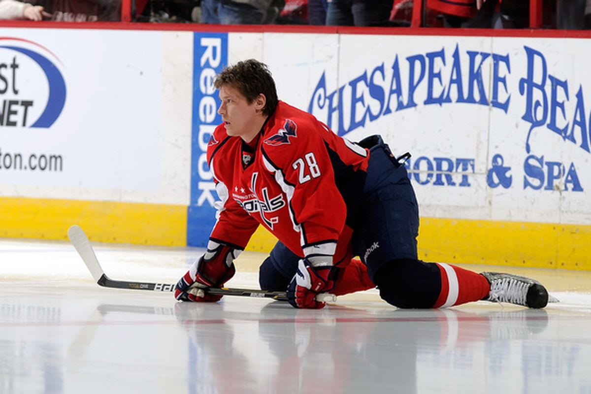 WASHINGTON - JANUARY 08:  Alexander Semin #28 of the Washington Capitals warms up before the game against the Florida Panthers at the Verizon Center on January 8 2011 in Washington DC.  (Photo by Greg Fiume/Getty Images)