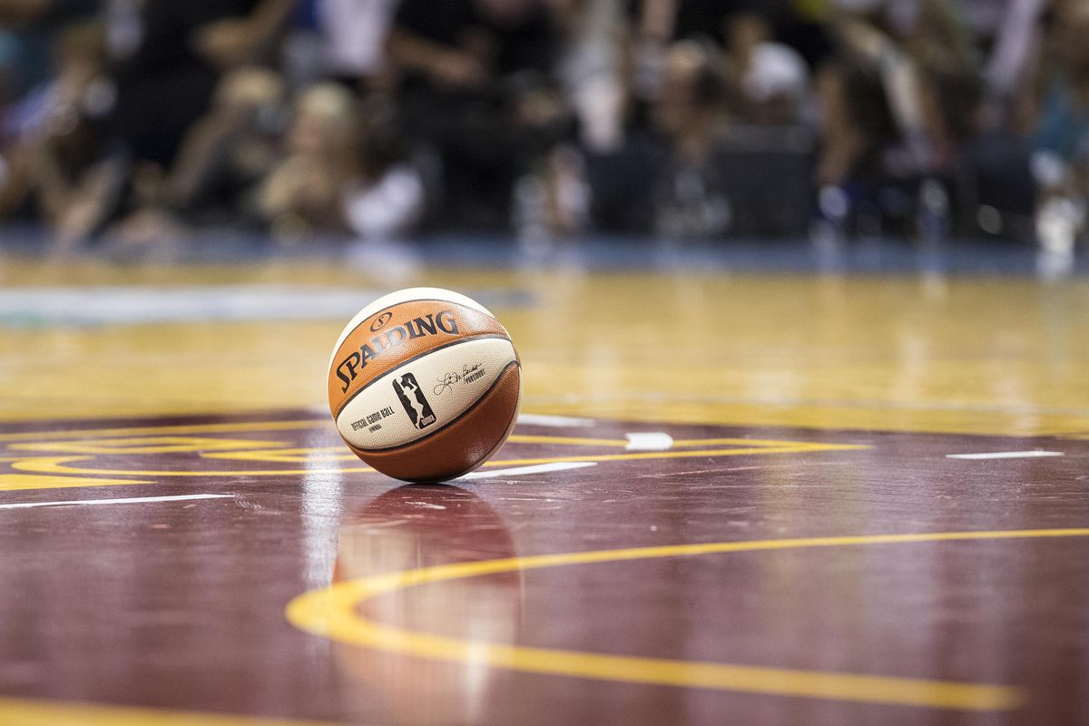 A general view of a basketball on the court during a timeout in the second half in a game between the Los Angeles Sparks and Minnesota Lynx in Game 1 of the WNBA Finals at Williams Arena.