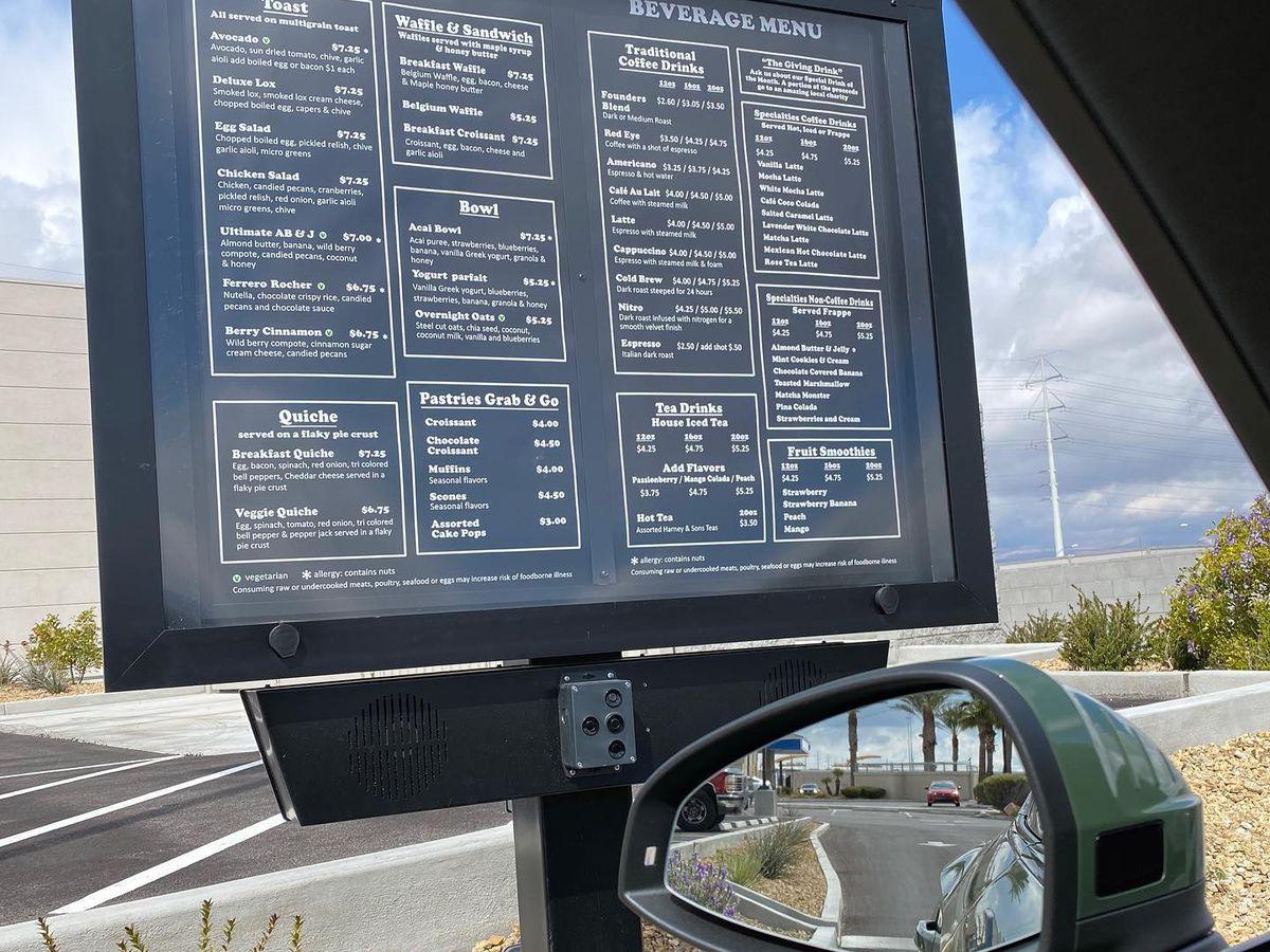 A drive-thru menu