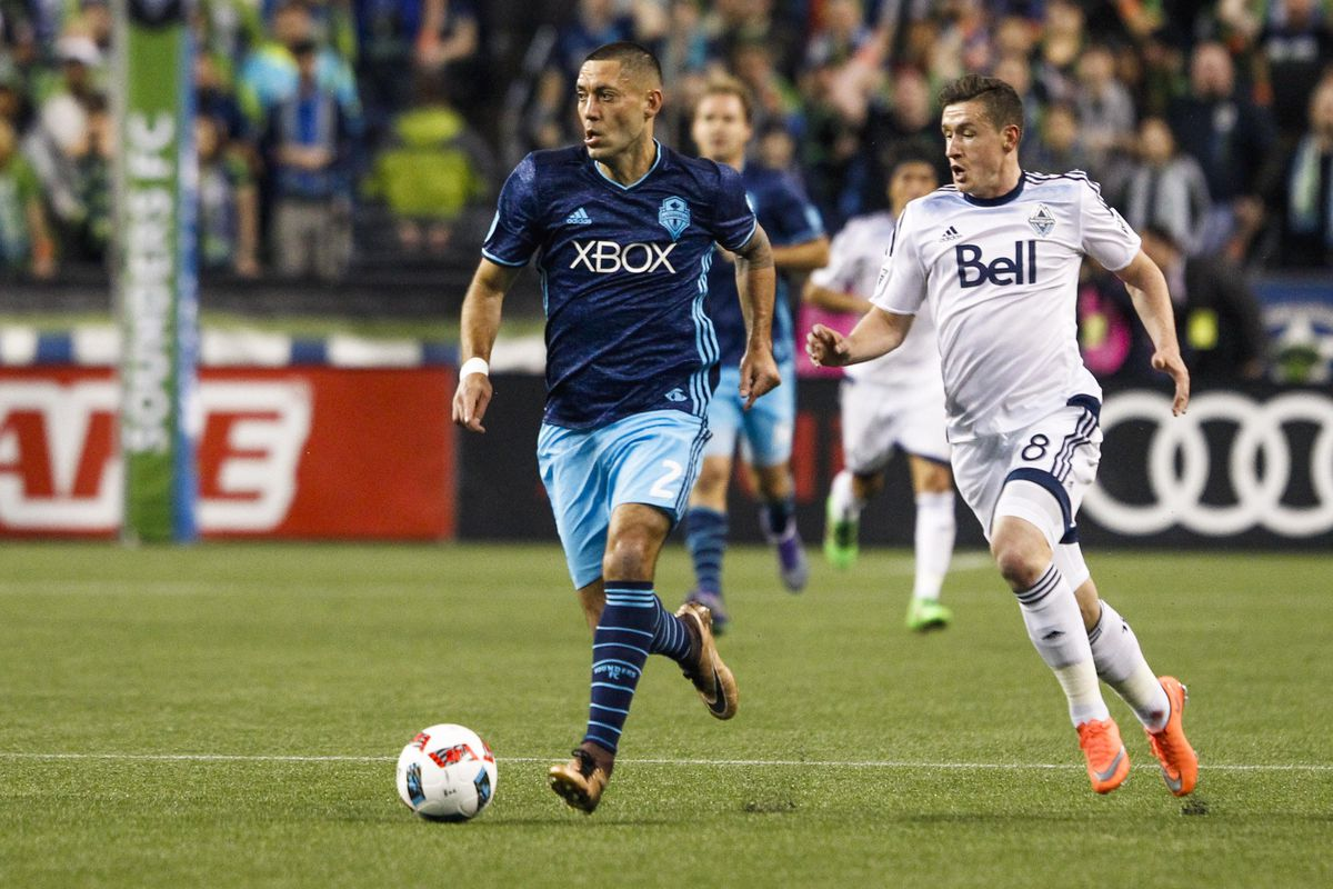 Clint Dempsey (left) attacks in Seattle's loss to the Vancouver Whitecaps earlier this year.