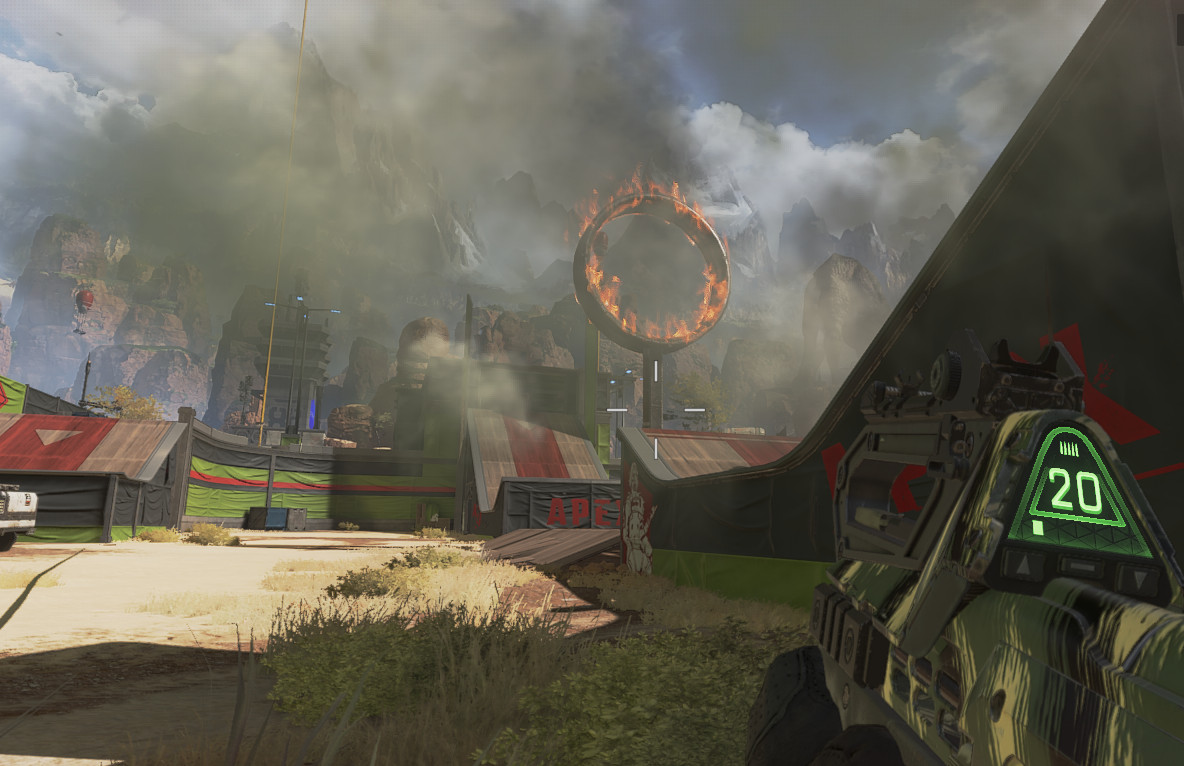 A ring of fire stands at the center of Apex Legends' Gauntlet area