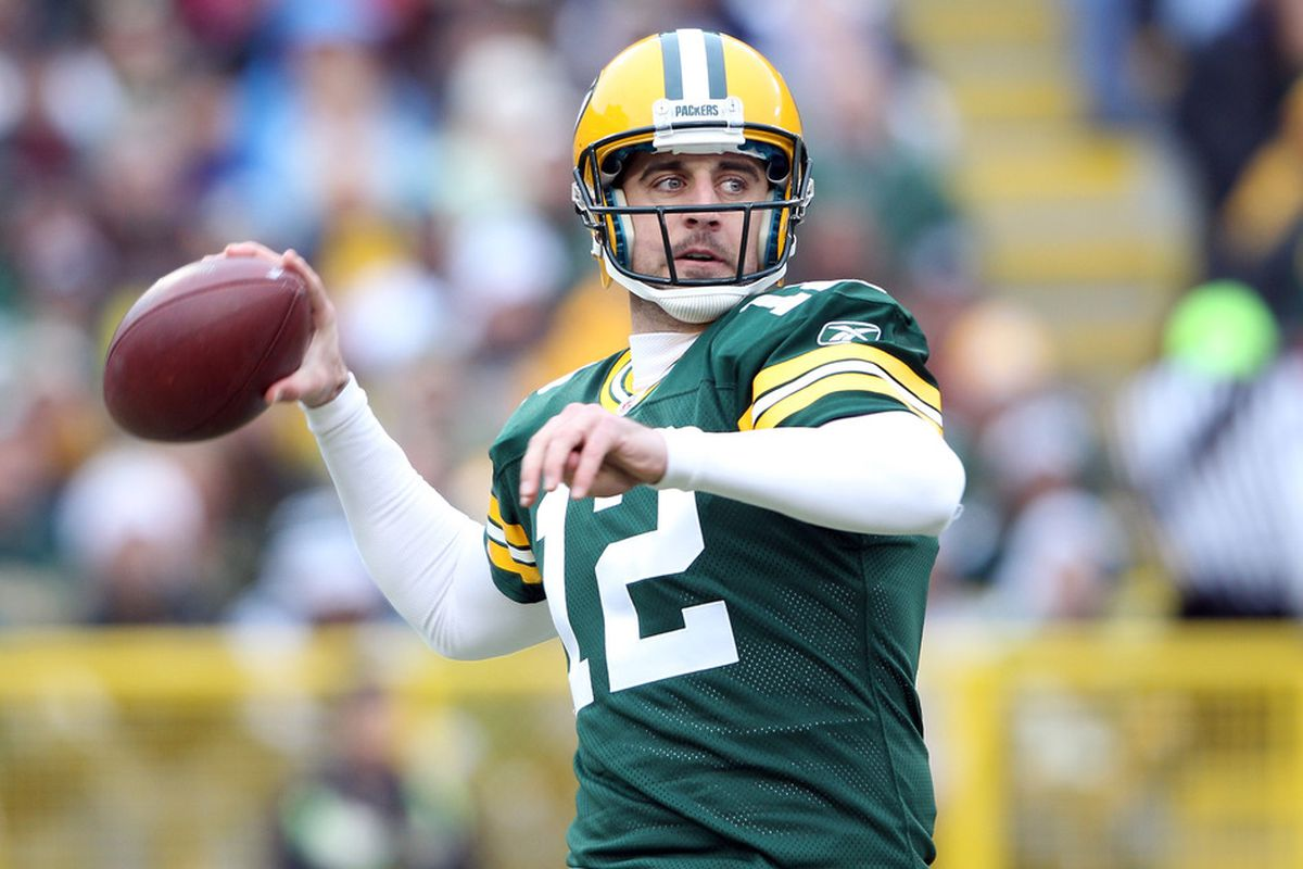 Green Bay quarterback Aaron Rodgers.  (Photo by Elsa/Getty Images)