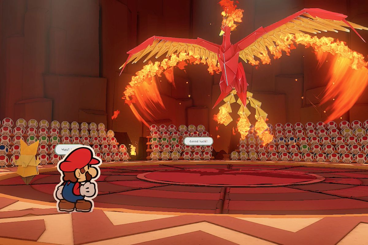 Paper Mario: The Origami King Fire Vellumental boss fight guide