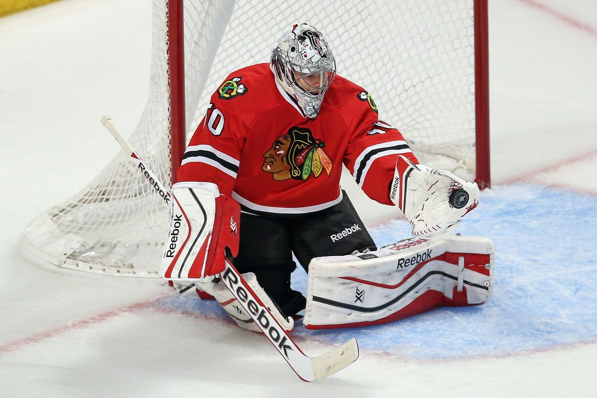 Corey Crawford for once not giving up a rebound.