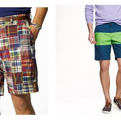 """The Expected: Madras Shorts – The Update: <b>J. Crew</b> Stanton Short in Colorblock, <a href=""""http://www.jcrew.com/mens_category/shorts/stantonshorts/PRDOVR~54462/54462.jsp"""">$75.00</a>"""