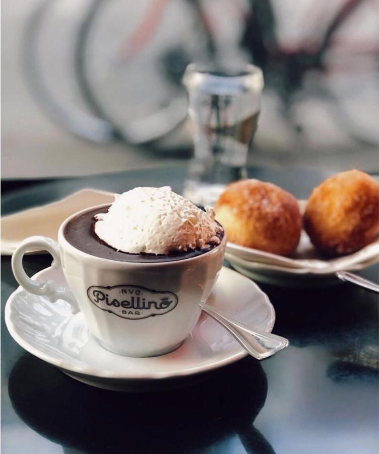 Dark hot chocolate at Bar Pisellino