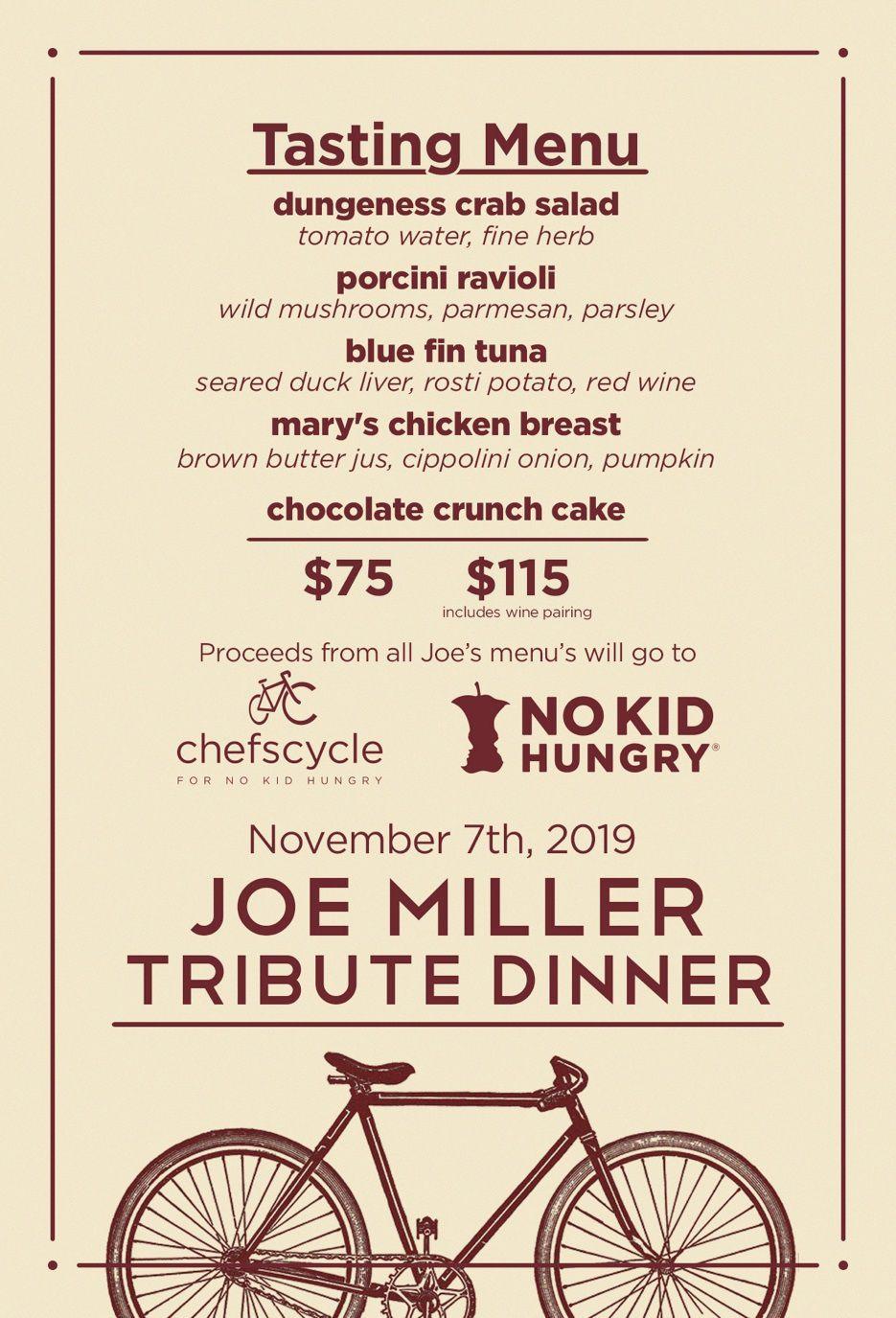 Joe Miller tribute dinner poster