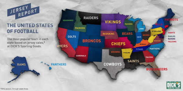 Which NFL Team Jersey Sells Best In Your State SBNationcom - Us map with nfl teams