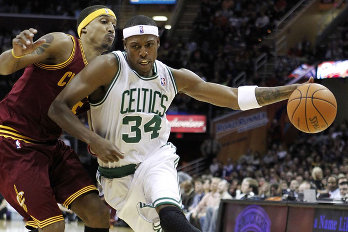 CLEVELAND - OCTOBER 27:  Paul Pierce #34 of the Boston Celtics tries to get around Jamario Moon #15 of the Cleveland Cavaliers at Quicken Loans Arena on October 27 2010 in Cleveland Ohio.  (Photo by Gregory Shamus/Getty Images)