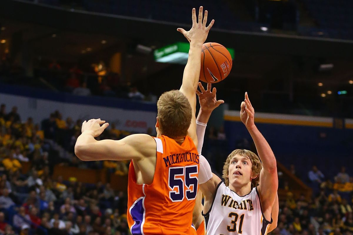 Ron Baker (Jr-G) takes a shot against Egidijus Mockevicius (Jr-C), who could be a breakout star in the Valley this season.