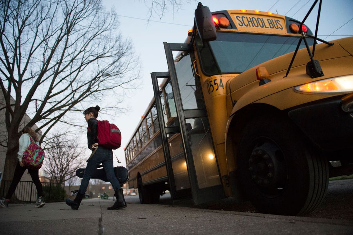 LOUISVILLE, KY: Students get off the bus in 2017 in Louisville, Kentucky, where a fight was underway about the county's longstanding desegregation efforts.