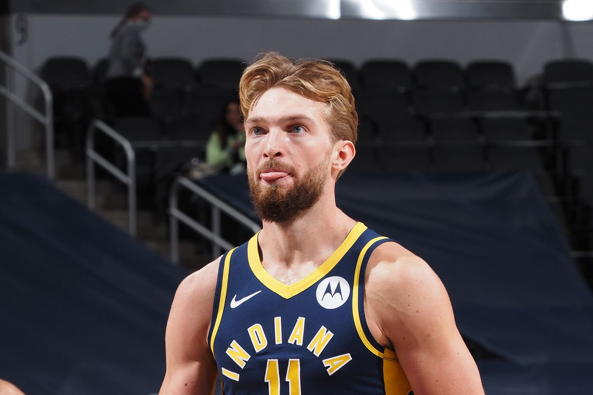 Domantas Sabonis of the Indiana Pacers shoots a foul shot during the game against the Toronto Raptors on January 25, 2021 at Bankers Life Fieldhouse in Indianapolis, Indiana.