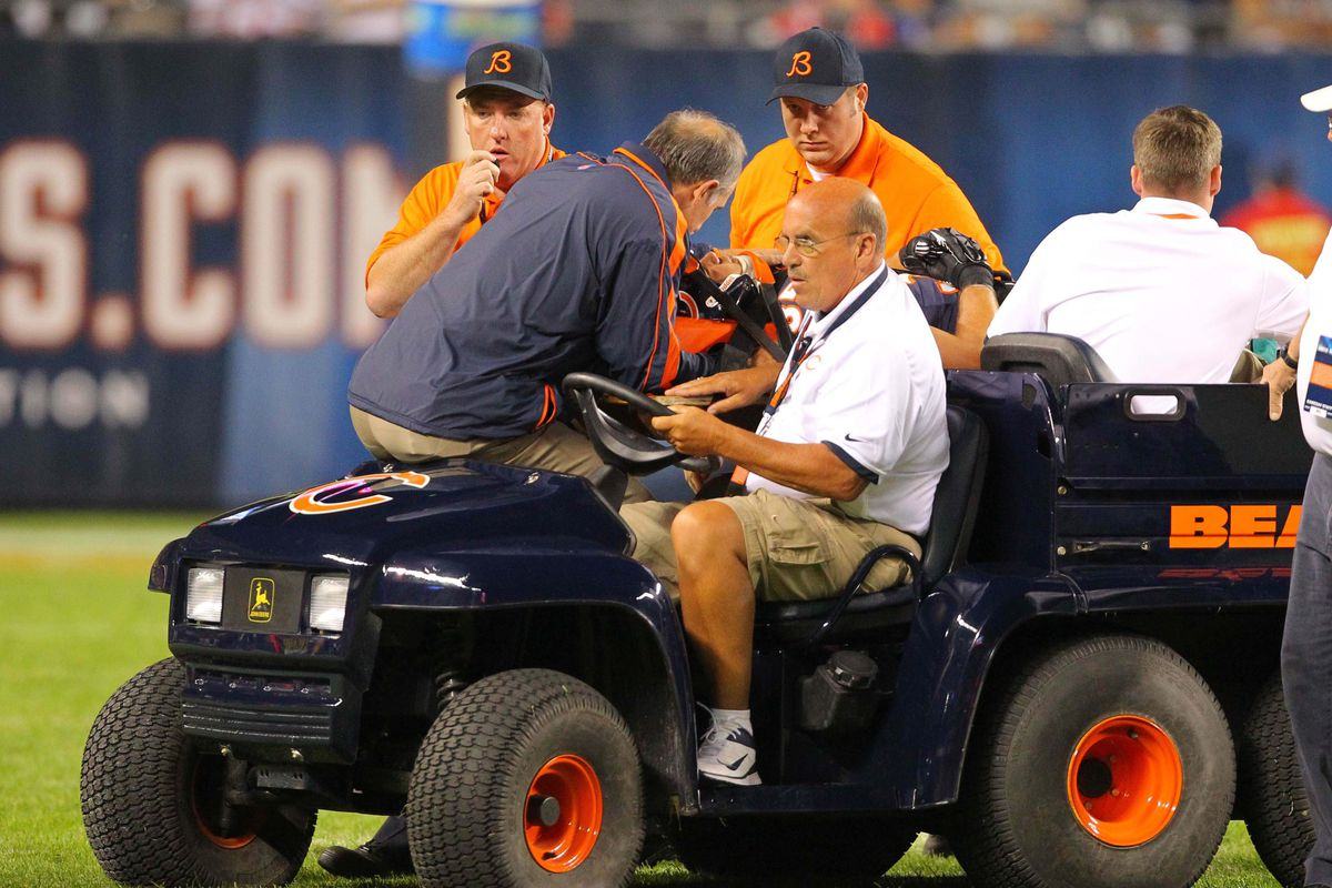 It sucks to be injured and now IRed but look on the bright side, Brandon: you got to ride on the <em>sweet</em> Bears-themed cart.