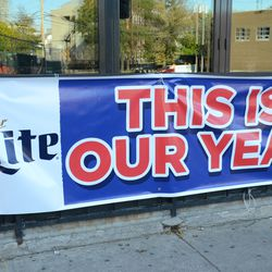3:53 p.m. A banner still out in front of Bernie's Bar & Grill -
