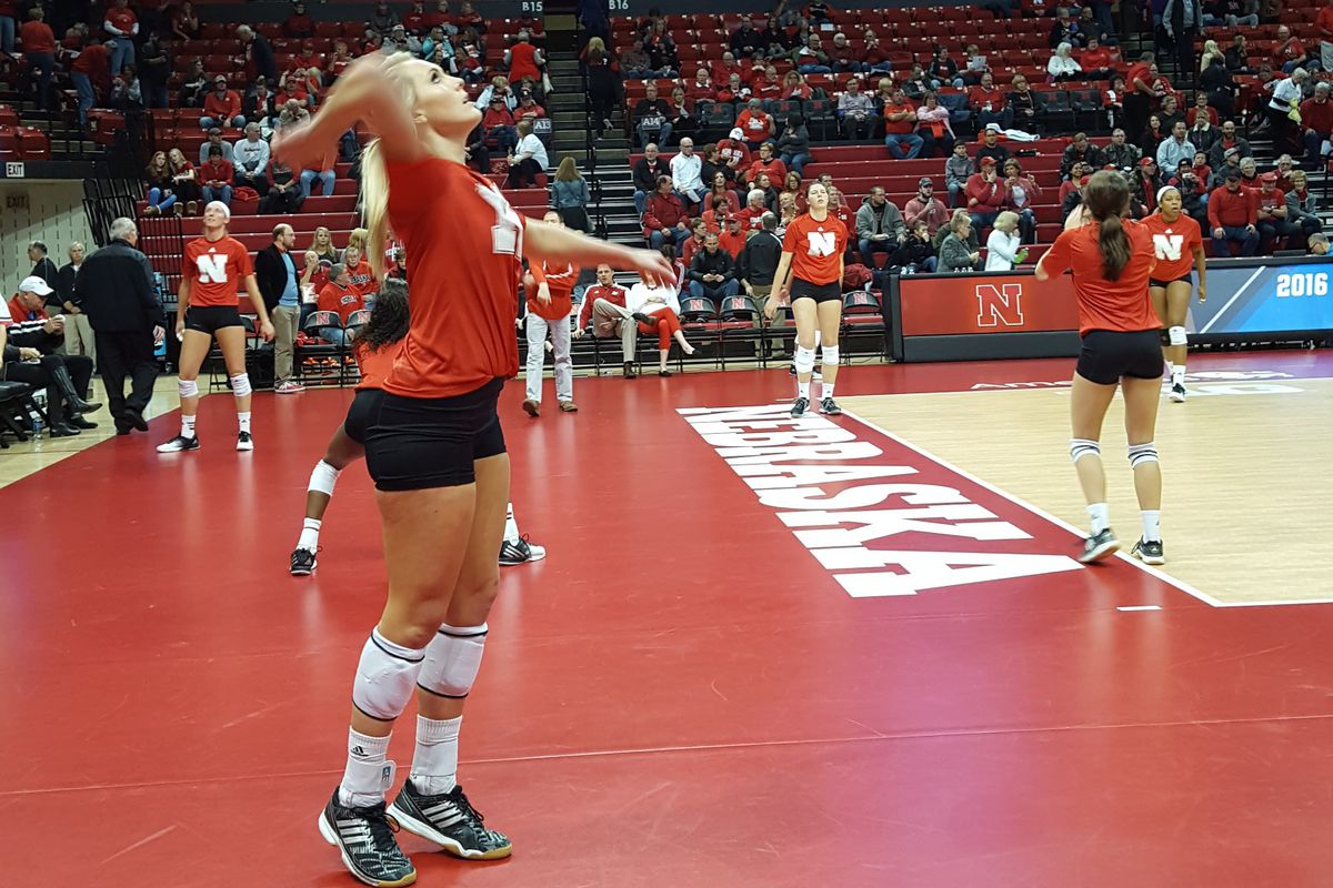 Olivia Boender warms up before the Huskers take on TCU in the second round of the NCAA tournament.