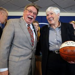 Utah Jazz owner Gail Miller announces that the ownership of the Jazz will be transferred into a legacy trust to ensure the Jazz stay in Utah at the Vivant Smart Home Arena in Salt Lake City on Monday, Jan. 23, 2017.