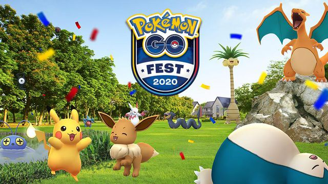 A bunch of Pokémon celebrate outside around the Pokémon Go Fest logo
