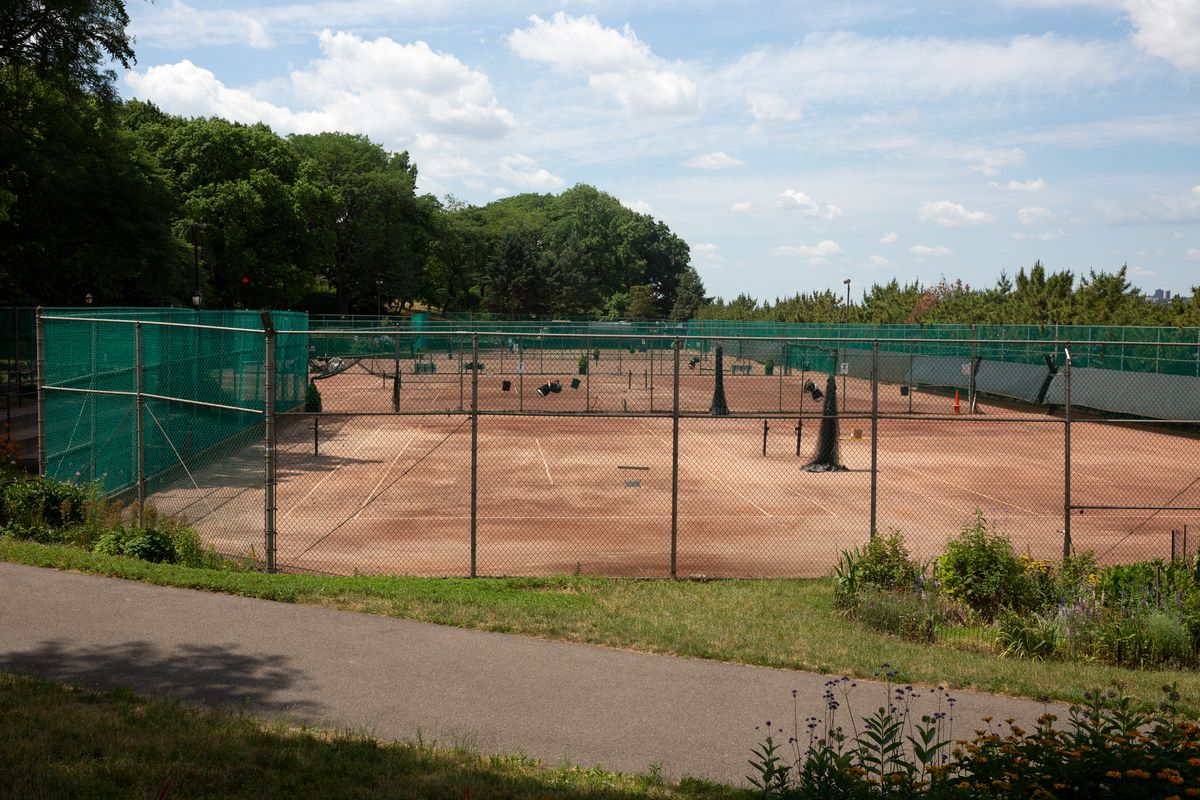 Clay tennis courts in Riverside Park near West 96th Street were set to open after being shuttered during the coronavirus outbreak, June 26, 2020.
