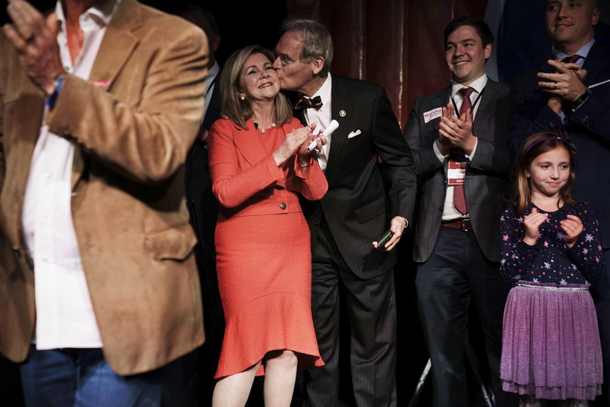 Rep. Marsha Blackburn (R-TN) celebrates as her husband Chuck Blackburn gives her a kiss during an election night party in Franklin, Tennessee, November 6, 2018.