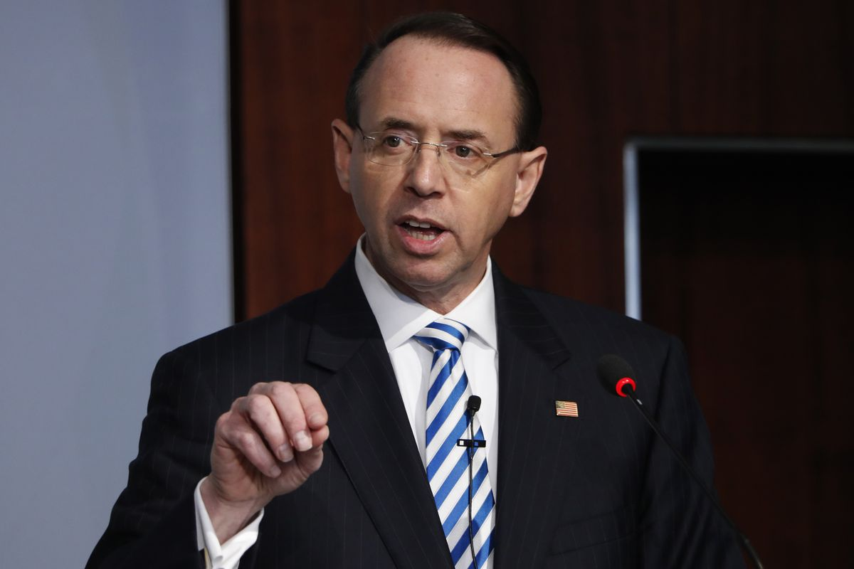 FILE - In this Feb. 25, 2019, file photo, Deputy Attorney General Rod Rosenstein speaks at a Center for Strategic and International Studies (CSIS) event on the rule of law in Washington. Rosenstein has submitted a letter of resignation to President Donald