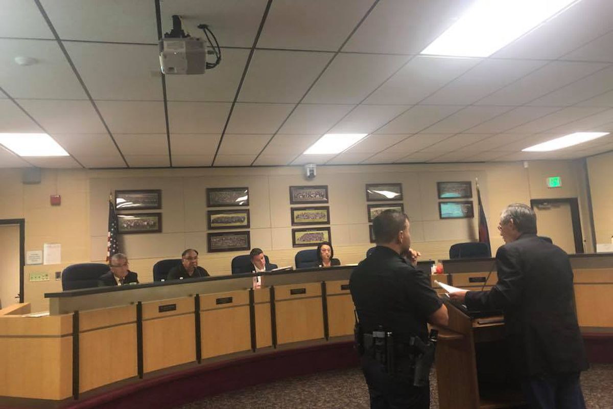 Jorge Garcia addressing the Adams 14 board just before he was escorted out. (Photo courtesy of Nicholas Martinez, founder of Transform Education Now.)