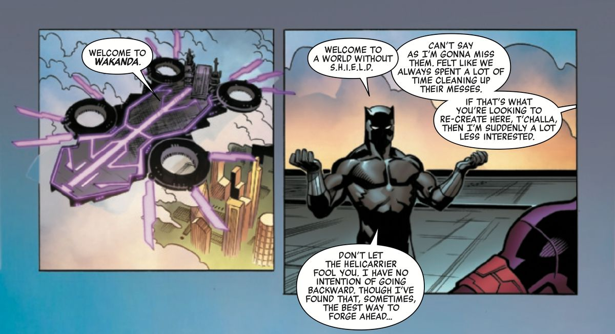 Black Panther and Janet van Dyne in Avengers #12, Marvel Comics (2019).