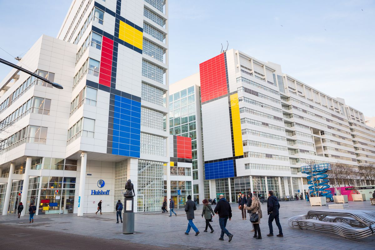 Dutch city hall turned into big Mondrian painting