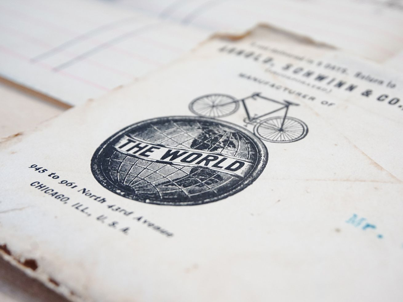 """Detail of Arnold, Schwinn & Co. stationery with """"The 'World' Cycles"""" branding, Arnold, Schwinn & Co., 1905."""