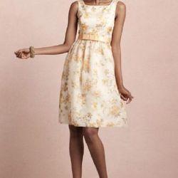 BHLDN yellow floral square neck dress (BHLDN $300)