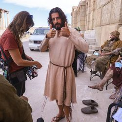 """Jonathan Roumie, who plays Jesus, gives two thumbs up during a pause in filming of a faith-based streaming series on the life of Christ called """"The Chosen"""" at The Church of Jesus Christ of Latter-day Saints' Jerusalem set in Goshen, Utah County, on Monday, Oct. 19, 2020."""