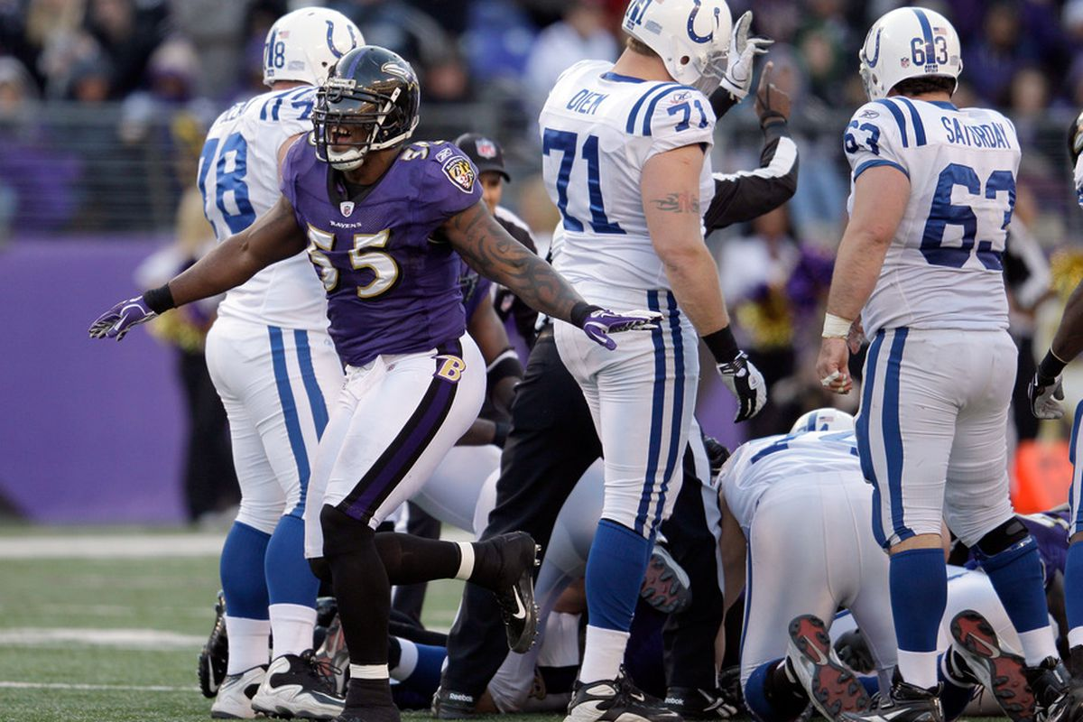 BALTIMORE, MD - DECEMBER 11:  Terrell Suggs #55 of the Baltimore Ravens celebrates a sack against the Indianapolis Colts during the second half at M&T Bank Stadium on December 11, 2011 in Baltimore, Maryland.  (Photo by Rob Carr/Getty Images)