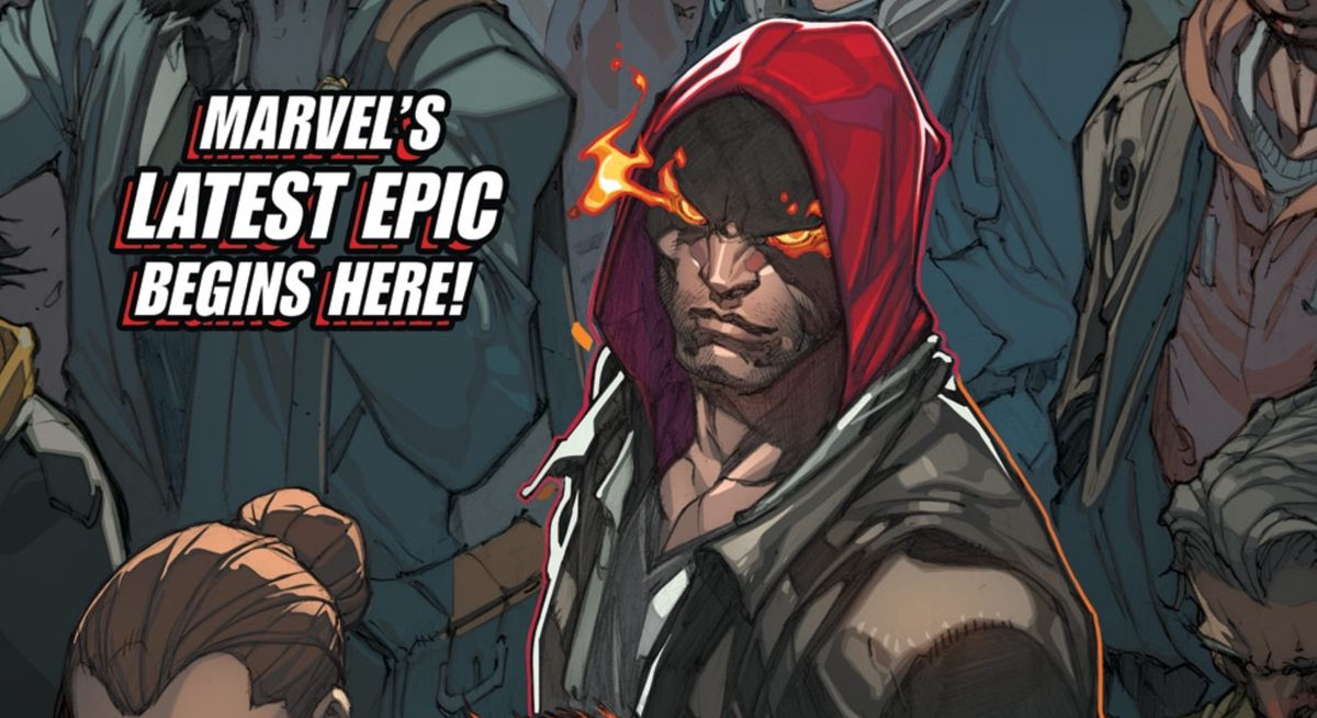 An Inhuman with flaming eyes looks up at the viewer from a crowd of humans, on the cover of Inhumans #1, Marvel Comics (2014).