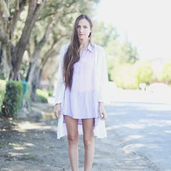 """Bethany of <a href=""""http://outofabook.blogspot.com/"""">Snake's Nest</a> is wearing a Casper & Pearl dress, a vintage robe and Dolce Vita shoes."""