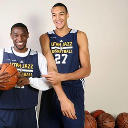 Ian Clark and Rudy Gobert pose for a portrait at the Zions Bank Basketball Center in Salt Lake City on Thursday, Oct. 10, 2013. The two have become good friends.