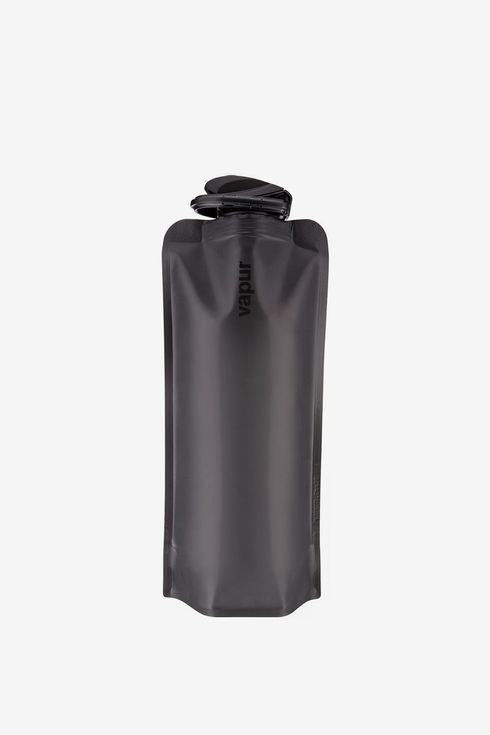 A black collapsible water bottle