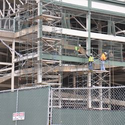 Scaffolding at the northwest corner of the ballpark