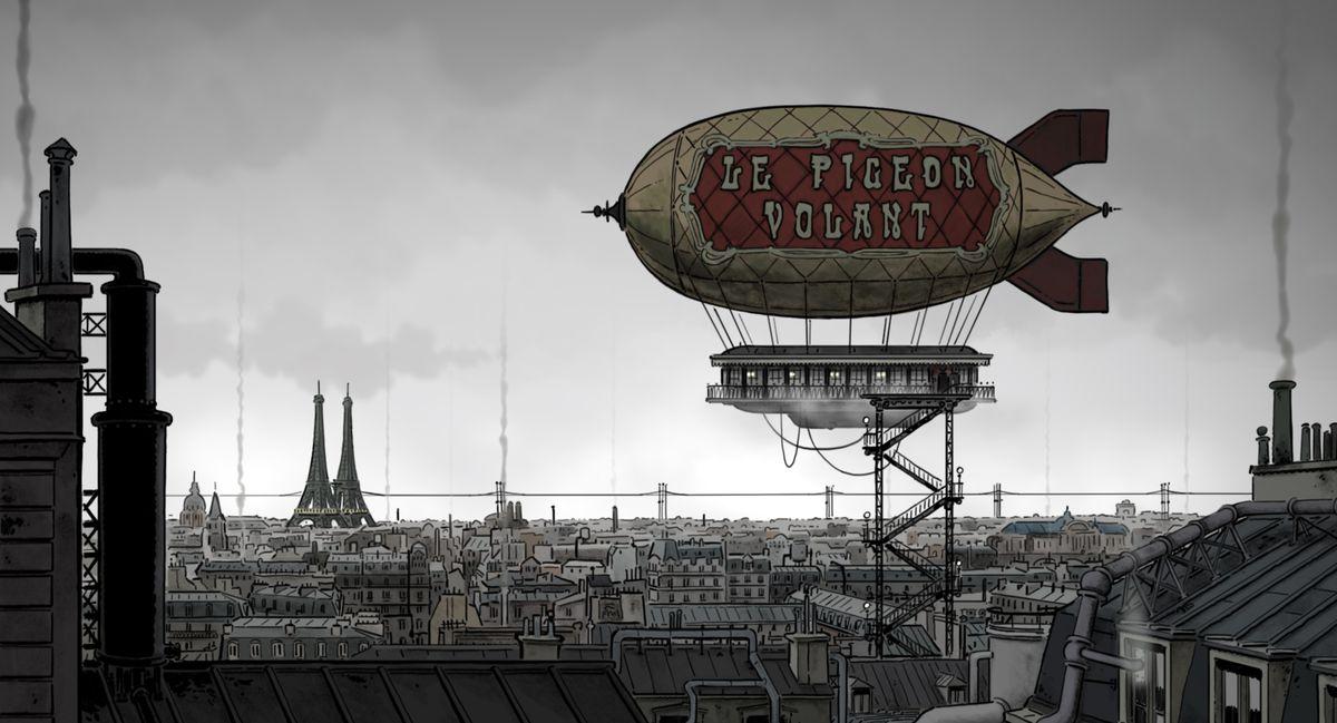 The steampunk Paris skyline.